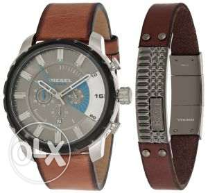 Diesel Men's Gray Dial Leather Band Chronograph Watch Bangle Set - DZ4