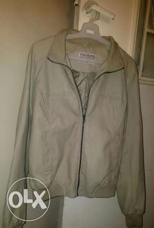 Beige leather jacket for women