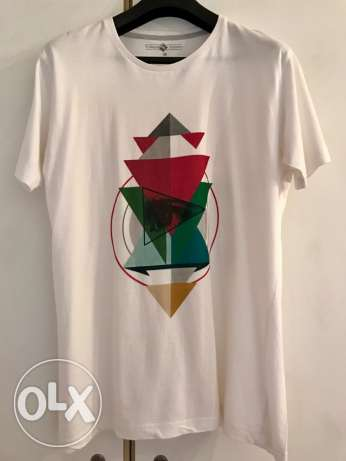 New White T-shirt - Contemporary Pattern Print