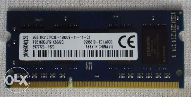 Laptop Ram 2GB DDR3 - PC3L 12800S Kingston