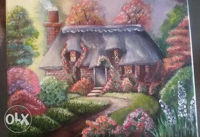 Acrylic painting on canvas(romantic cottage )