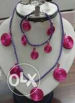 Purple circled necklace and bracelet