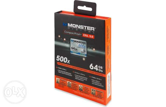 Monster Digital Compact Flash Memory Card 500X speed, 64GB capacity وسط القاهرة -  2