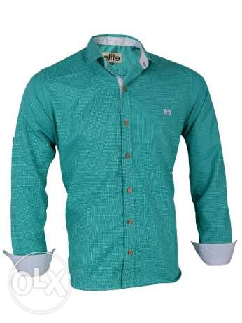 Elite Turquoise Cotton Shirt Neck Shirts For Men قميص رجالي قطن