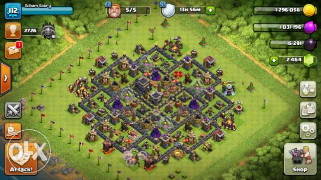 Townhall 9 lvl 113 with 2550 Gem