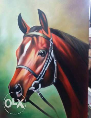horse tableau- signed oil painting