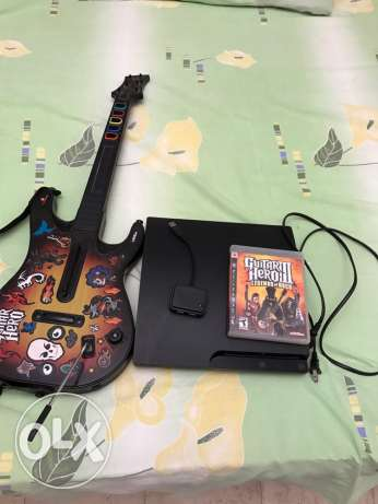 PlayStation 3 with Guitar and 1 game