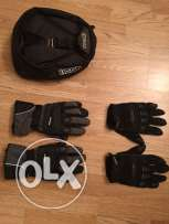 gloves and tank bag