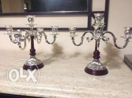 Silver plated candle holders .. 2شمعدان مطلي فضة