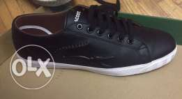 original black lacoste leather shoes