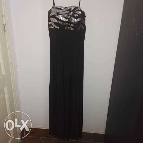 Silver and black soiree dress
