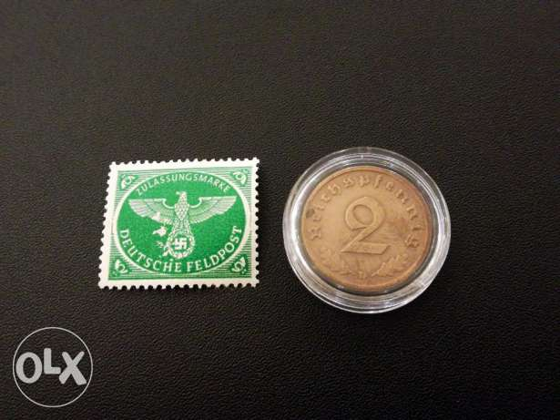Rare - German 3rd Reich 1939 Coin and Stamp - Read Description المعادي -  5