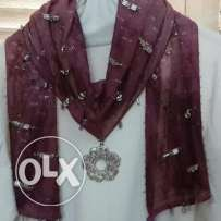 Dark purple scarf with big silver flower