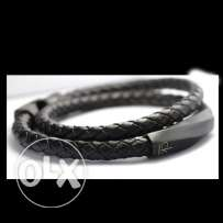 Men's Black Leather Calvin Klein Bracelet