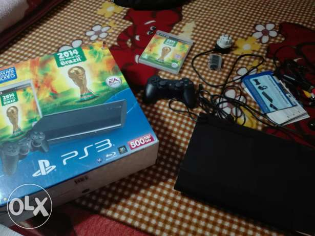 Ps3 super slim fifa world cup edition 500gbاستخدم للتجربة فقط