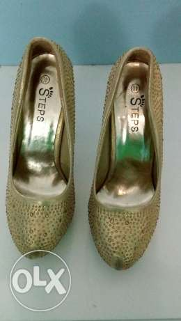 Gold Shoes soiree with heel 12 cm, size 38-39