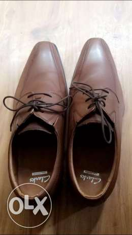 clarks brown shoe natural leather size 46