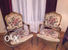2 salon Louis quinze chairs