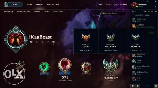 Selling my League of Legends Account EUNE Plat 4