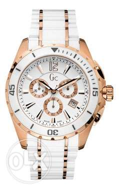 Gc Ceramic Watch - white & gold