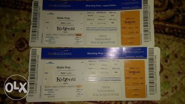 Two tickets for kidznia parck