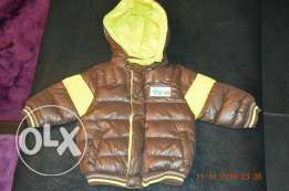 Brown padded Bomber with a hood سوتر مبطن