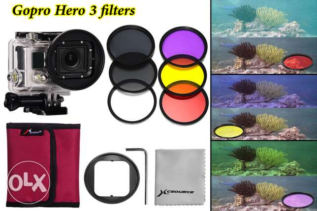 6pcs Filters(Red+Yellow+purple+UV+CPL+ND4) for Gopro Hero 3 new