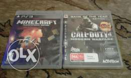 Call of duty 4 modern warfare and minecraft for playstation 3
