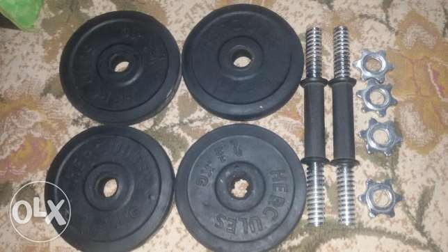 2 dumbbell bars and 10 kg weights.