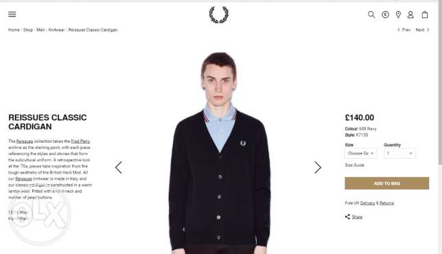 Fred Perry original navy marl cardigan made in italy القاهرة -  2