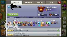 Account clash town 10 5 builders 2500 gems also Leader of clan highlvl