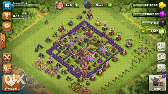 Clash of clans town hall 8 semi - max + free town hall 8 account gift