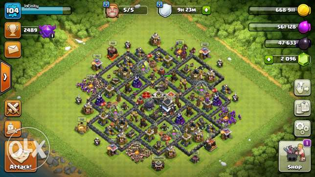 Clash of Clans Semi Maxed Out TH 9...2000 GEMS...5 Builders..Clan lvl9