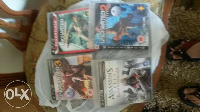 Uncharted 1,2,3 and assassin's creed brother hood ps3