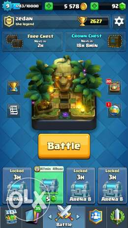 Clash royale lvl.9 arena 9 high gems and gold good clan