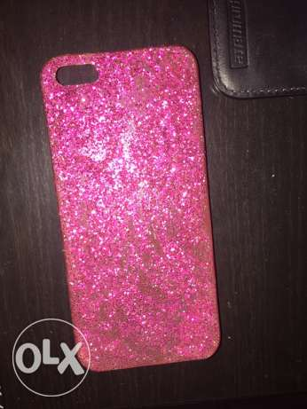 homemade pink glittered cover for iPhone 5/5s
