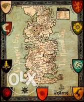 Seven Kingodms Map From Game Of Thrones HD 22CM*26CM