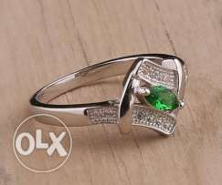 925 SILVER RING FOR WOMEN -7 -SIZE 14 خاتم فضه ايطالي بفص اخضر