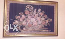 Gobelin tableaux (Flowers Bouquet) in Golden Frame