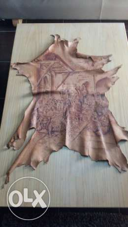 Real deer leather with hand drew paint