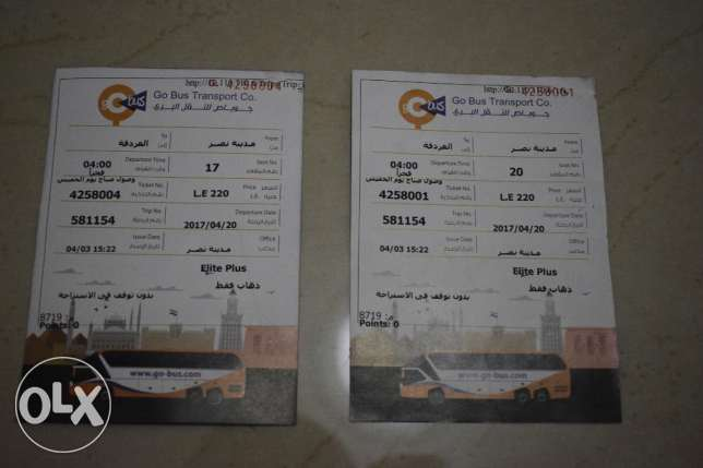 2 Go Bus Tickets from Cairo to Hurghada on 20th of April