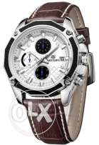Megir Men Casual Watch Genuine Leather