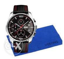Voeons Chronograph Black Leather Quartz Sports Casual Wrist watch