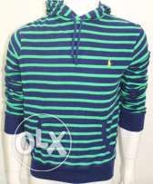 XLPolo Ralph Lauren Striped Pullover Hoodie Sz Small Green