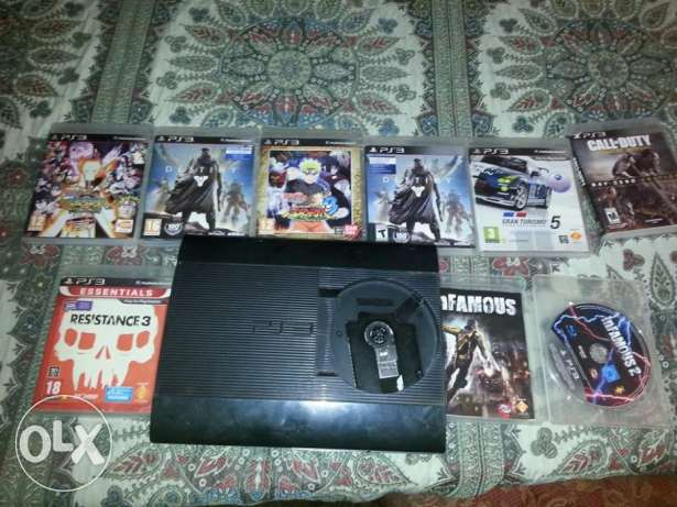 ps3 super slim 500 giga with 7 games with 1 controller الوراق -  1