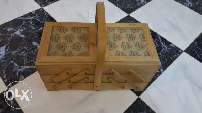 Wooden sewing kit box including every accessories inside