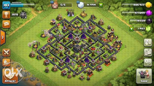 Clash of Clans account level 9 max defence