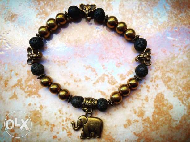 Gold African Elephants Bracelets