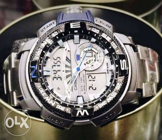 ساعه casio g-shock مزدوجة فيرست كوبي (اسود اوازرق او برتقالي )