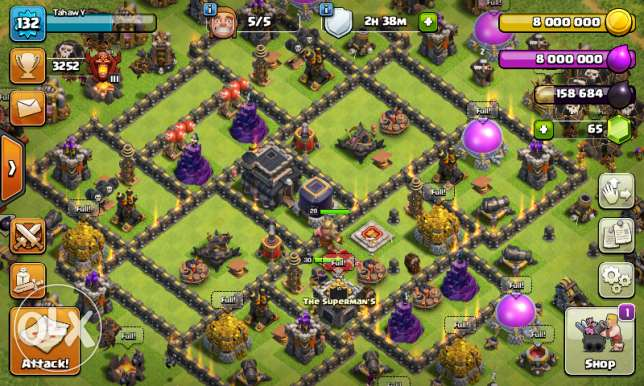 clash of clans th9 max qween 30 king29